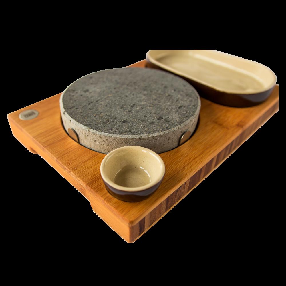 Steak rock bamboehouten grillsteenplateau model o - Aperitief plateau huis van de wereld ...